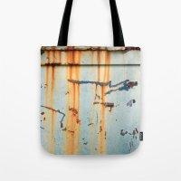 Rust Streaks on Aqua Tote Bag