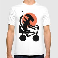 Alien On A Chopper Mens Fitted Tee White SMALL