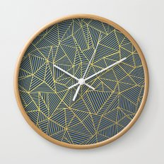 Ab Lines Gold and Navy Wall Clock