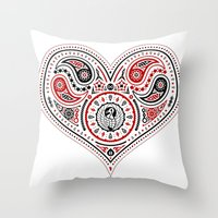 83 Drops - Hearts (Red & Black) Throw Pillow