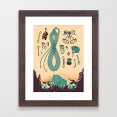 Half Dome Climbing Poster Framed Art Print