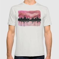 London Skyline 2 Pink Mens Fitted Tee Silver SMALL