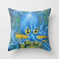 Octopus on Drums Throw Pillow
