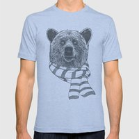 Winter Bear Drawing Mens Fitted Tee Tri-Blue SMALL