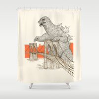 Godzilla vs. the Brooklyn Bridge Shower Curtain