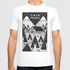 Twin Peaks SMALL Mens Fitted Tee White
