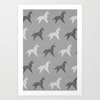 Origami Unicorn Grey Art Print