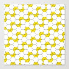 B/W & Yellow Hexagon pattern Canvas Print