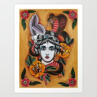 Woman With Snake Art Print