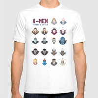 X-MEN BEFORE & AFTER Mens Fitted Tee White SMALL