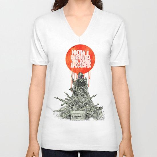 How I Survived The Zombie Apocalypse (colour option) V-neck T-shirt