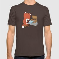 Record Player Mens Fitted Tee Brown SMALL