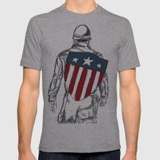 Captain America (Chris Evans) Mens Fitted Tee Athletic Grey SMALL