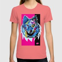 Lazer Wolf Womens Fitted Tee Pomegranate SMALL