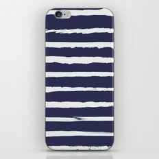 Irregular Hand Painted Stripes Dark Blue iPhone & iPod Skin