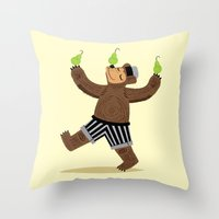 A Bear With Pears Throw Pillow