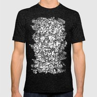 Misspent Youth Watercolor Doodle Mens Fitted Tee Tri-Black SMALL
