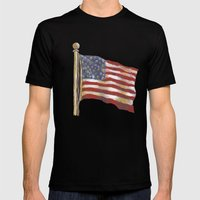 Stars & Stripes Mens Fitted Tee Black SMALL