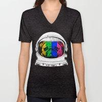 Astronaut Pug Unisex V-Neck