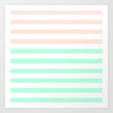 MINT & PEACH STRIPES Art Print
