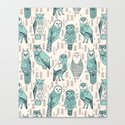 Parliament of Owls - Pale Turquoise by Andrea Lauren Canvas Print