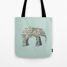 Elephant Paper Collage in Gray, Aqua and Seafoam Tote Bag