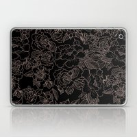 Pink coral tan black floral illustration pattern Laptop & iPad Skin