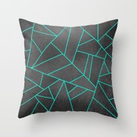 Turquoise Lines Throw Pillow