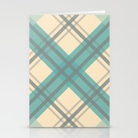 Teal Pastel Plaid Stationery Cards