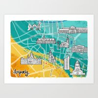 Leipzig Map: Buildings Edition Art Print