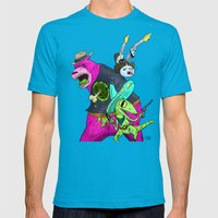 Floating BunnyHead Western Action  Mens Fitted Tee Teal SMALL