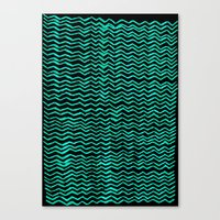 Red Wavy Chevrons Canvas Print