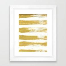 Gold Brushstrokes Framed Art Print