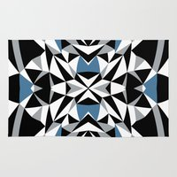 Abstract Kite Black and Blue Rug