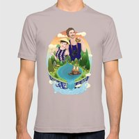 Couple custom illustration for I&S Mens Fitted Tee Cinder SMALL