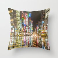 Rain In Japan Throw Pillow