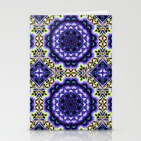 Decorative kaleidoscope in purple, blue, green and salmon Stationery Cards
