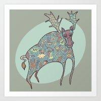 Blue Moose Art Print