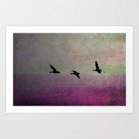 Goose Flight - JUSTART © Art Print