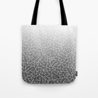 Ombre black and white swirls doodles Tote Bag