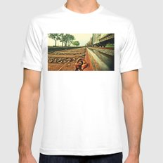Train Track SMALL White Mens Fitted Tee