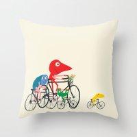 Bikers Picnic Throw Pillow