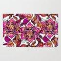 Bright watercolor floral mandala henna hand drawn pattern Rug