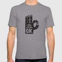 IT'S OKAY Mens Fitted Tee Athletic Grey SMALL