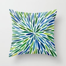 Watercolor Burst – Blue & Green Throw Pillow