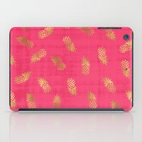 Gold Pink Paradise Pineapples iPad Case