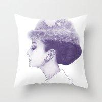 Audrey Hepburn In Purple… Throw Pillow