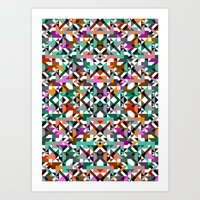 Aztec Geometric Reflection I Art Print