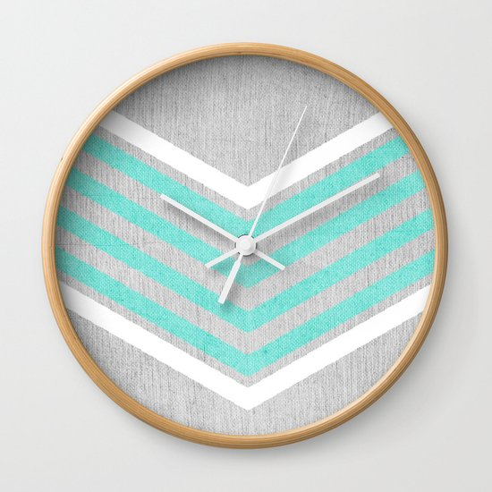 Teal And White Chevron On Silver Grey Wood Wall Clock By