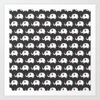 Elephants In Love Art Print
